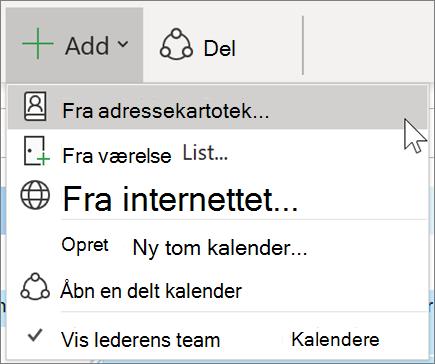 Tilføje en kalender fra adressekartoteket i Outlook