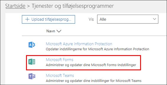 Administratorindstillinger for Microsoft Forms