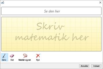 Indsæt håndskrevne ligninger ved hjælp af matematisk inputobjektboks i PowerPoint