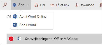 Skærmbillede af menuen Åben i et dokumentbibliotek med den nye oplevelse.