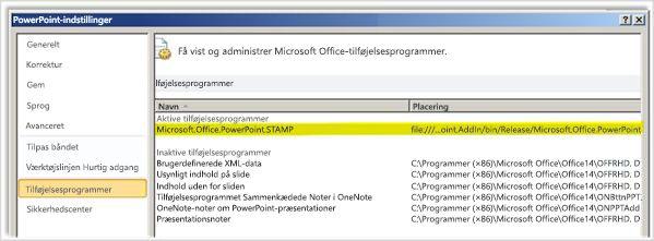 PowerPoint-indstillinger, vinduet Tilføjelsesprogrammer med STAMP-tilføjelsesprogrammet fremhævet
