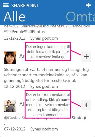 Skærmbillede af antal svar i SharePoint Newsfeed-app'en på en iOS-enhed