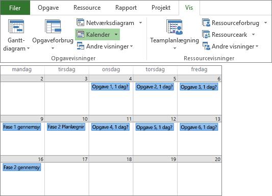 Sammensat skærmbillede af grupperne opgavevisninger og ressourcevisninger i visningsfanen samt en projektplan i kalendervisning.