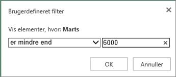 anvendelse af et brugerdefineret filter til at vise værdier, der er mindre end visse kriterier