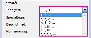 Vælg talformat for slutnoter og fodnoter