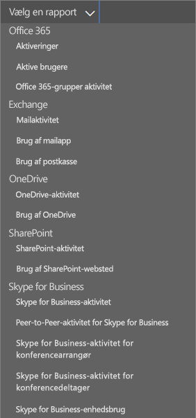 Office 365-rapporter – rulleliste over benyttede mailklienter