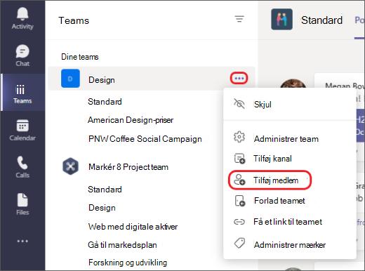 Føj medlemmer til et team