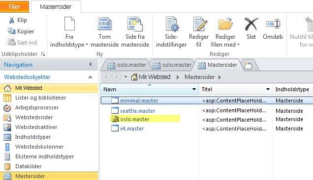 Liste over SharePoint 2010-mastersider.