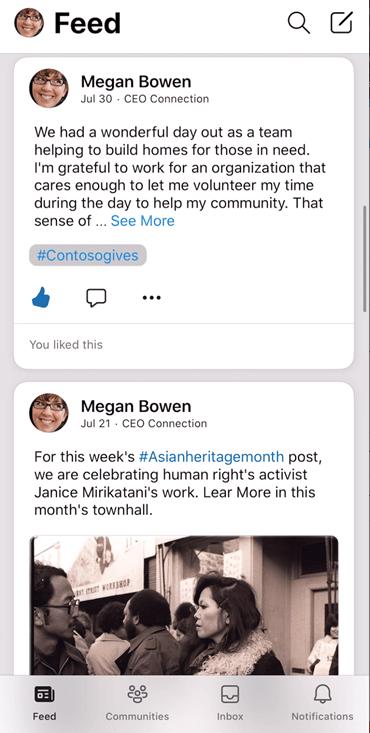 Skærmbillede, der viser feedet på Yammer iOS-appen