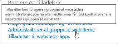 Administratorer af grupper af websteder er fremhævet under brugere og tilladelser