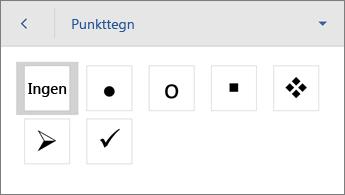 Kommandoen Punkttegn, der viser formateringsindstillinger