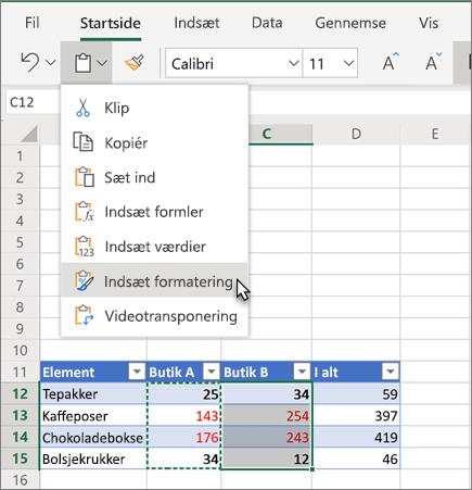 Du kan indsætte formatering i en celle eller et område