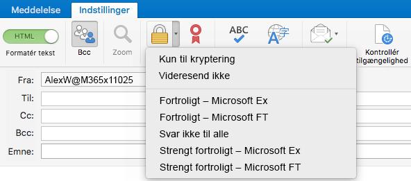 Ny krypteringsindstilling med understøttelse af Office 365-meddelelseskryptering, Videresend ikke og IRM-skabeloner
