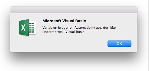 Fejl i Microsoft Visual Basic: Brug af variabler og automatiseringstype understøttes ikke i Visual Basic.