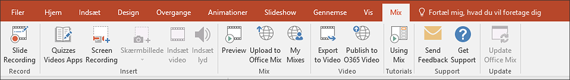 PowerPoint 2016 Mix båndet