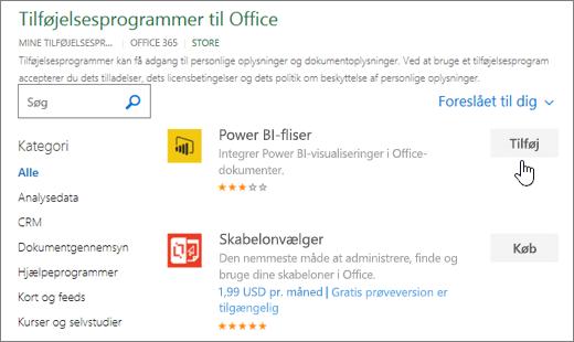 Skærmbillede af siden Office-tilføjelsesprogrammer, hvor du kan vælge eller søge efter et tilføjelsesprogram til Excel.