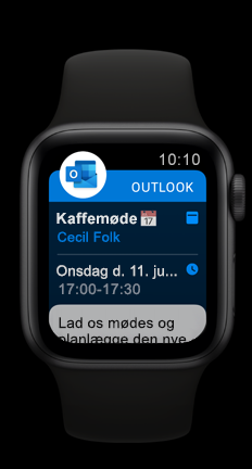 Apple Watch, der viser Outlook forestående kalenderaftale