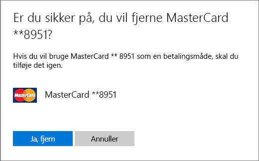 Bekræftelsessiden for at fjerne et kreditkort.