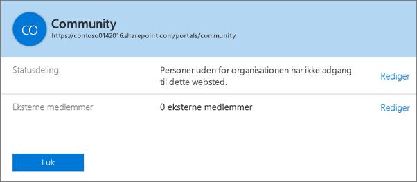 Dialogboksen Delingsstatus for en bestemt gruppe af websteder med deling slået fra.