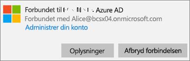 Klik eller tryk på Info i dialogboksen Tilsluttet til Azure AD.