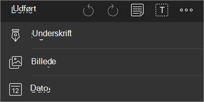 Flere indstillinger for navigationsmenuen i OneDrive for iOS-din PDF-mærkning
