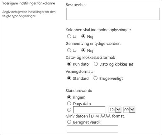 Valg for kolonnen for dato/klokkeslæt
