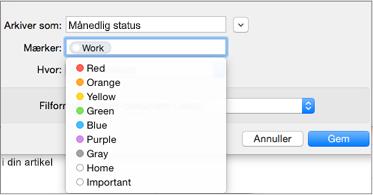 Angiv et navn, mærke, og Gem placering til din e-mail-skabelon