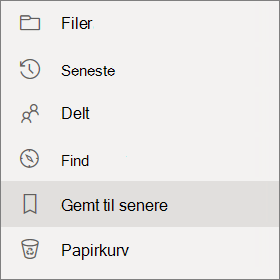 Indstillingen gemt til senere visning i leftside navigation i OneDrive for Business