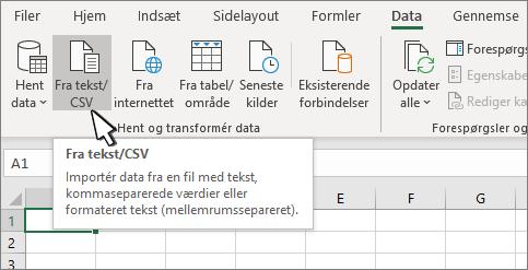Markér Tekst/CSV under fanen Data