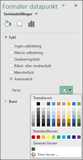 Farveindstillinger i Excel-kortdiagram for kategoridiagrammer