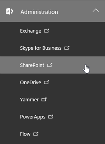 En liste over Administration for Office 365, herunder SharePoint.