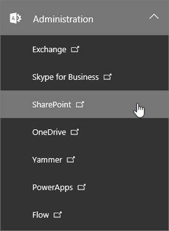 En liste over Administration for Office 365, herunder SharePoint.