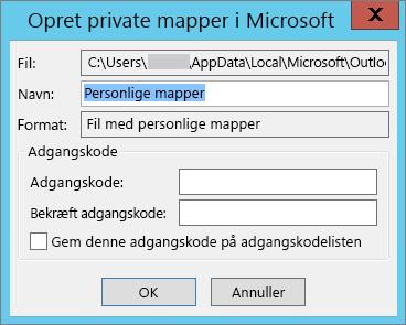 Vælg OK, hvis du ikke vil beskytte .pst-filen med en adgangskode.