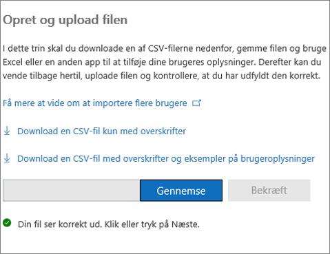 Din CSV-fil er blevet bekræftet