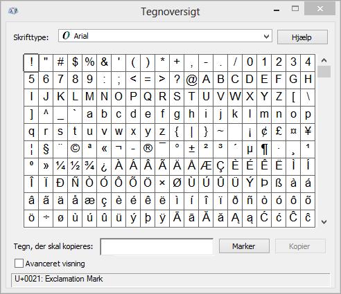 Windows-programmet Tegnoversigt