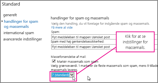 Indstilling af filter for masseforsendelser i Exchange Online