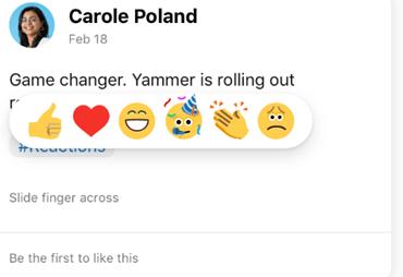 Skærmbillede, der viser, hvordan du trykker på en reaktion på Yammer-mobilappen