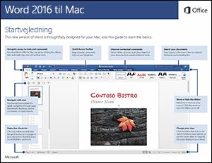 Startvejledning til Word 2016 til Mac