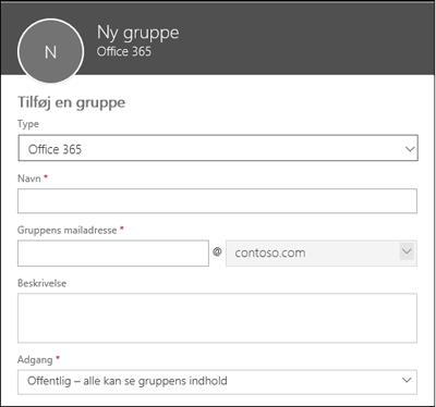 Opret en ny Office 365-gruppe, en ny distributionsliste eller en ny sikkerhedsgruppe