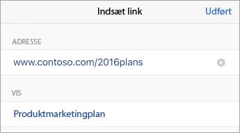 Kommandoen Link, der viser URL (adresse) og tekst, der skal vises