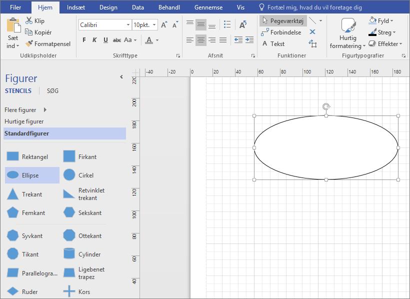 Træk en figur fra stencilen Standardfigurer til tegningsruden.