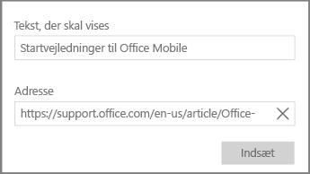 Skærmbillede af dialogboksen til tilføjelse af et hypertekst-link i OneNote til Windows 10.