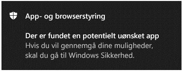 En App- og browserstyring-meddelelse fortæller kunden, at en potentielt uønsket app er blevet fundet.