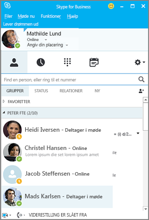 Liste over kontakter i Skype for Business