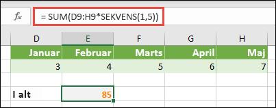 Brug matrixkonstanter i formler. I dette eksempel har vi brugt = SUM (c-c: H (* SEKVENS (1; 5))
