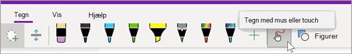 """Skærmbillede af fanen Tegning i OneNote til Windows 10 med musen over knappen """"Tegn med mus eller touch"""""""
