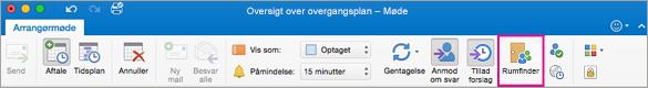 Outlook-båndet med knappen Rumfinder fremhævet