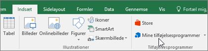 På fanen Indsæt på båndet finder du gruppen Tilføjelsesprogrammer til administration af tilføjelsesprogrammer i Excel.