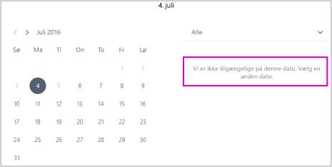 Når office er lukket får kunder vist en meddelelse om, at ingen tilgængelighed. Vælg en anden dato.