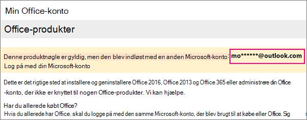 Siden Min Office-konto, der viser delvis Microsoft-konto